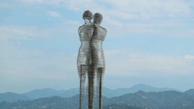 Ali and Nino, the Famous Moving and Passing Through Each Other Steel Sculpture of Lovers in Batumi, Georgia
