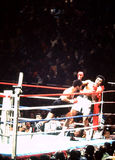 Ali -- Spinks Boxing Match. Leon Spinks has Muhammad Ali against the ropes. (Image from color slide, showing grain royalty free stock image