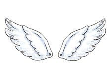 Ali sveglie del fumetto Vector l'illustrazione con l'icona bianca dell'ala dell'uccello o di angelo isolata illustrazione di stock