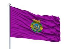 Alia City Flag On Flagpole, Espanha, província de Caceres, isolada no fundo branco ilustração stock