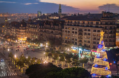 Aerial view of Aliados / Liberdade Square and Clerigos Tower town of Porto. Sunset view with winter Christmas tree, Lisbon Stock Photo