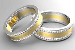 Aliança de casamento do diamante Foto de Stock Royalty Free