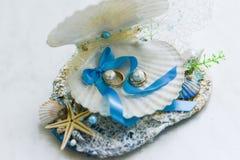 Aliança de casamento em um shell fotografia de stock