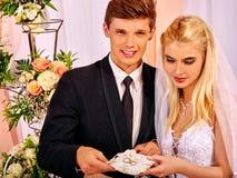 Aliança de casamento no descanso Fotografia de Stock Royalty Free