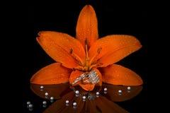 Alianças de casamento da joia com os diamantes dentro da flor, pedra preciosa Fotografia de Stock Royalty Free