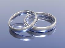 alianças de casamento da prata do ouro da ilustração 3D ilustração do vetor