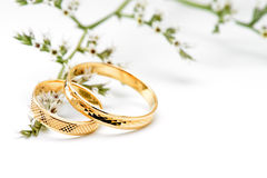 Alianças de casamento do ouro e flores do ramo Foto de Stock
