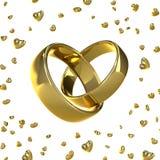 Alianças de casamento douradas em uma forma de um coração imagens de stock royalty free