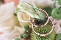 Alianças de casamento em flores bonitas Foto de Stock Royalty Free