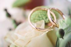 Alianças de casamento em flores bonitas Fotos de Stock