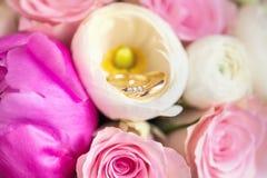 Alianças de casamento em flores cor-de-rosa Fotografia de Stock