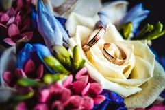 Alianças de casamento em um ramalhete fotos de stock royalty free