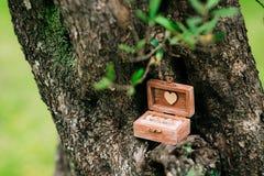 Alianças de casamento em uma caixa de madeira para os anéis feitos a mão Imagens de Stock