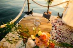 Alianças de casamento em uma caixa de vidro para anéis Fotos de Stock Royalty Free