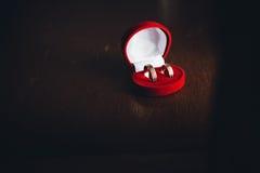 Alianças de casamento em uma caixa vermelha Fotos de Stock