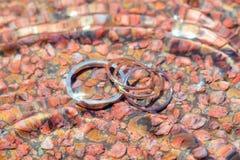 Alianças de casamento na água Imagem de Stock Royalty Free