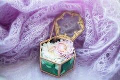 Alianças de casamento na guarda-joias, estilo romântico do vintage Fotos de Stock