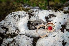 Alianças de casamento na rocha Fotografia de Stock Royalty Free