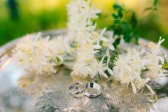 Alianças de casamento nas flores do jasmim em um tra de prata metálico Imagem de Stock