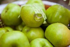 Alianças de casamento nas maçãs verdes Fotografia de Stock Royalty Free