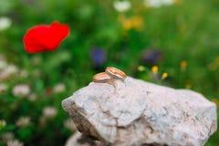 Alianças de casamento nas pedras na grama e nas papoilas vermelhas no Fotos de Stock Royalty Free