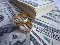 Alianças de casamento no dinheiro Imagens de Stock