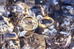 Alianças de casamento no gelo Fotografia de Stock