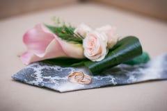 Alianças de casamento no laço do noivo Fotos de Stock Royalty Free