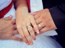 Alianças de casamento nos dedos imagens de stock