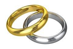 Alianças de casamento realísticas - amarelas e ouro branco Fotografia de Stock