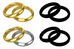 Alianças de casamento realísticas - ISOLADAS Fotos de Stock