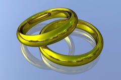 Alianças de casamento realísticas - ouro Fotografia de Stock