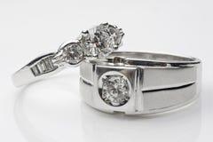 Alianças de casamento de prata Fotografia de Stock