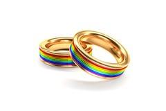 Alianças de casamento do arco-íris Fotografia de Stock