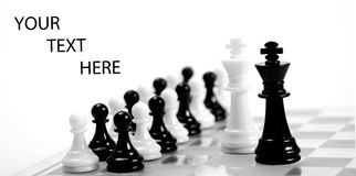 Aliance. White and black king on the chessboard opposing each other,black and white pawns in the background,can be used as concept for conflict,meeting,agreement Stock Images