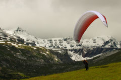 Aliante pronto per il decollo Lenzerheide Svizzera Fotografia Stock Libera da Diritti