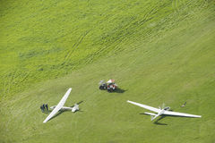 Alianti di vista aerea sull'aeroporto Fotografia Stock