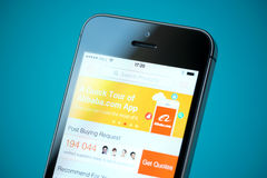 Alibaba application on Apple iPhone 5S Royalty Free Stock Photo