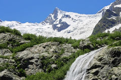 Alibek waterfall. Dombay mountains. The Northern Caucas Stock Images
