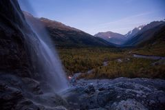 The Alibek waterfall and valley view Stock Photos