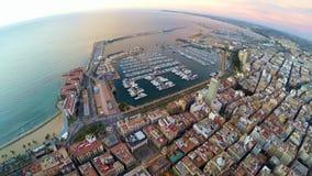 Alicante – aerial sea and castle view. Castle of Santa Barbara, Aerial View, Alicante Spain stock video footage