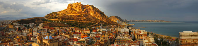 Alicante afternoon. Sunset over the Alicante city - Spain royalty free stock photos