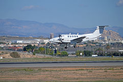 Alicante Airport Arrival OF A Light Aircraft - Propeller Plane Landing Stock Images