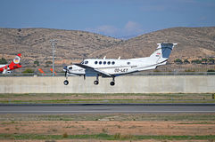 Alicante Airport Arrival OF A Light Aircraft Royalty Free Stock Images