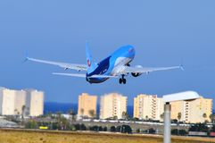 Alicante Airport - Thompsons Aircraft Passenger Plane Taking Off Royalty Free Stock Photos