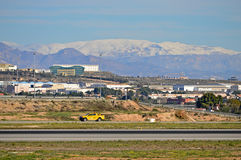 Alicante Airport Under The Snow Stock Photography