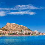 Alicante beach and castle Santa Barbara in Spain Stock Photography
