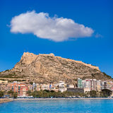 Alicante beach and castle Santa Barbara in Spain Royalty Free Stock Images