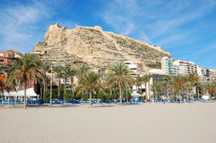 Alicante beach and fortress view Stock Photography