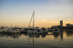 Alicante. Beautiful sunset and ships in Spain Royalty Free Stock Photography